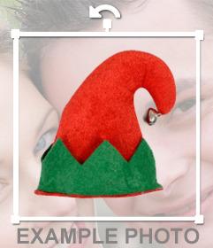 Gorro para poner en tus fotos, de elfo rojo y verde con cascabel