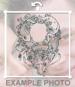 Efecto tatuaje con pegatina de dibujo de carpas koi y ornamentaciones para pegarla sobre tus fotos