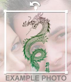 Tatuaje para poner en tus fotos de un dragon chino de colores