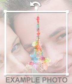 Pegatina con un dibujo de la Torre Eiffel de colores