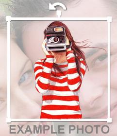Pegatina de una chica sujetando una Polaroid
