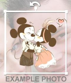 Pegatina de dibujo con Mikey y Minnie Mouse