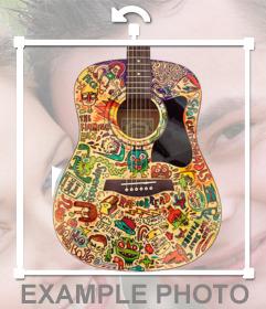 Pegatina de una guitarra con colores para tu foto