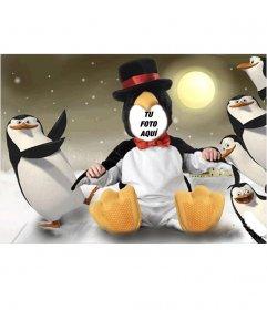 Disfraz virtual de pingüino para niños que puedes editar gratis