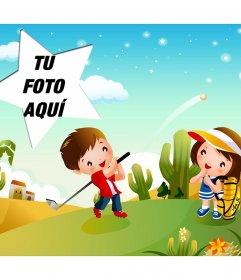 Golf estelar en esta postal para niños con marco en estrella