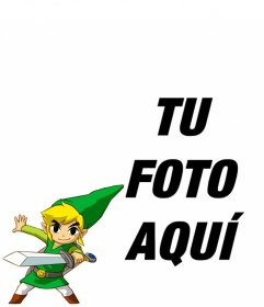 Marco con un Link de la Saga de Zelda empuñando una espada