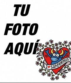 Marco de foto de perfil de San Fermín, con el torito en un corazón