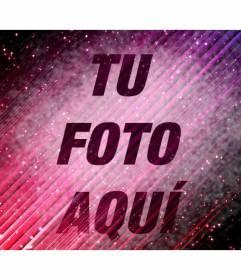 Fotomontaje especial en el que puedes poner una imagen sobre un fondo semitransparente abstracto morado con estrellas en el universo y añadir texto