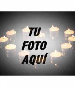 Fotomontaje de amor para añadir una imagen con velas formando un corazón sobre fondo negro