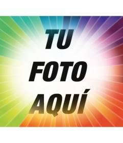 Filtro para fotos con rayos arcoiris degradado para colocar tu foto y añadir texto online y gratis