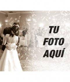 Filtro de fotos con una foto de una boda en el baile nupcial en color sepia para poner tu foto