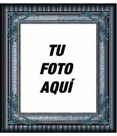 Marco para fotos azul con detalles dorados y metalizados para poner una foto digital gratis