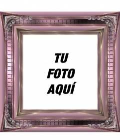 Marco para fotos digitales rosa metalizado con adornos brillantes para decorar tus imágenes online