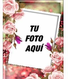 Marco para fotos con rosas alrededor y un fondo rosa y verde difuminado para personalizar con foto y un texto