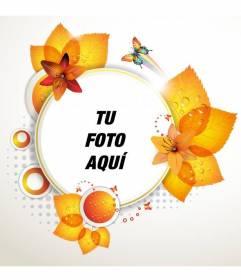 Marco para fotos redondo con hojas otoñales y mariposas