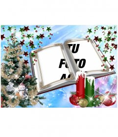 Tarjeta de Navidad con un montaje en forma de libro con adornos