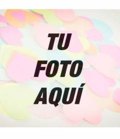 Fotomontaje romántico para poner post it de colores con forma de corazón sobre tu foto online