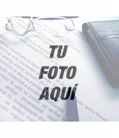 Filtro de fotos de una imagen con texto, boli, gafas y cartera para superponer sobre tus fotos