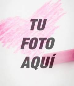 Filtro fotográfico con un corazón rosa dibujado a tiza para poner sobre tu foto