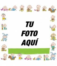 Marco de fotos infantil con bebes dibujados para personalizar con una foto y texto