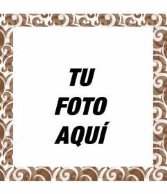 Marco para fotos con forma cuadrada y motivos marrones en mosaico para personalizar tus fotos
