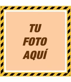 Marco para fotos amarillo y negro estilo de peligro con un filtro anaranjado para personalizar tus fotos