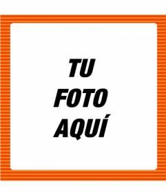 Marco de fotos online con líneas naranjas oscuras y claras para poner la foto que tu quieras