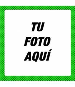 Marco verde fosforito para decorar fotos con look moderno neón con lunares negros