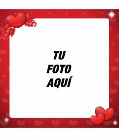 Marco para decorar fotos de amor de color rojo y con corazones