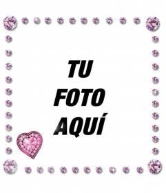 Cuadro de fotografía con diamantes rosas brillantes redondos y con forma de corazón y destellos de luz
