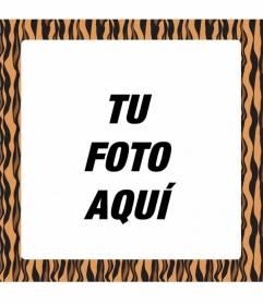Marco para crear fotomontajes añadiendo un marco naranja y negro con estampado de tigre