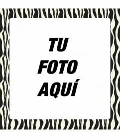 Marco para decorar fotos con estampado de cebra blanco y negro y añadir una frase