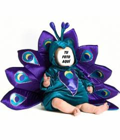 Fotomontaje de un bebé disfrazado de pavo real para personalizar con una foto