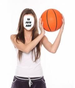Fotomontaje de una jugadora de baloncesto para añadirle tu cara