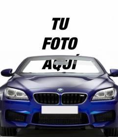 Conduce un BMW azul descapotable gracias a este fotomontaje donde poner tu foto para que parezca que conduces