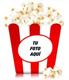Fotomontaje para poner una imagen en la caja de unas palomitas típica para ver una película en el cine