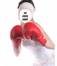 Fotomontaje de una novia boxeadora para ponerle tu cara gratis