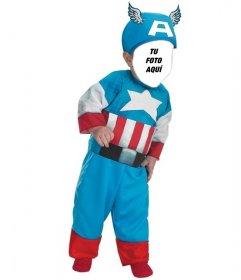 Fotomontaje infantil de un niño disfrazado del Capitán América
