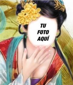 Fotomontaje con un dibujo de una chica asiática donde puedes poner tu cara