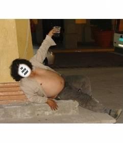 Fotomontaje de un hombre gordo borracho tirado en el suelo donde colocar la cara de quien quieras y añadir un texto