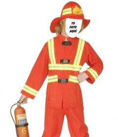 Fotomontaje de bombero para disfrazar a los niños online