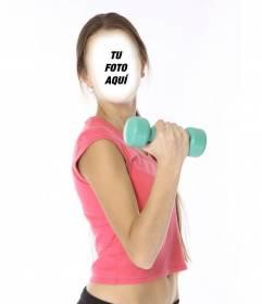 Fotomontaje de una chica delgada haciendo pesas para ponerle una cara
