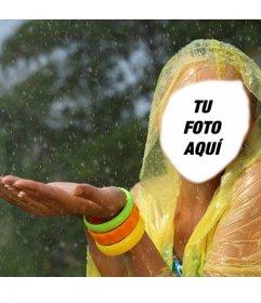 Fotomontaje de una chica con chubasquero amarillo bajo la lluvia