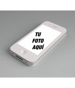 Fotomontaje para agregar una foto online a la pantalla de un iphone blanco y personalizar con una frase gratis