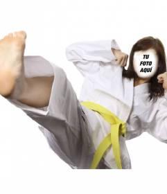 Fotomontaje de una chica practicando karate con un kimono blanco
