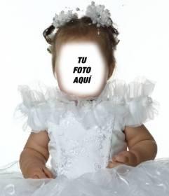 Fotomontaje de una niña vestida de princesa para poner tu cara