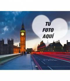 Fotomontaje de amor en Londres con el Big Ben de fondo y un corazón semitransparente donde colocar la foto que quieras