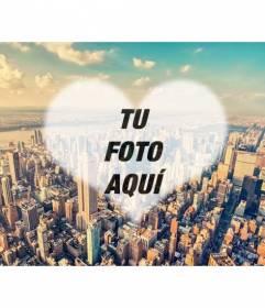 Collage con una foto de Nueva York y tu foto dentro de un corazón