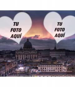 Collage de amor con una fotografía de Roma y dos corazones en los que poner tu foto y la de tu enamorado