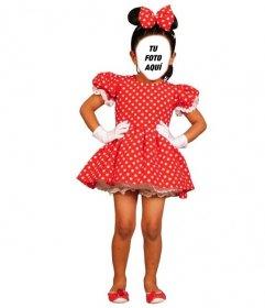 Fotomontaje de disfraz de Minnie Mouse para insertar una cara